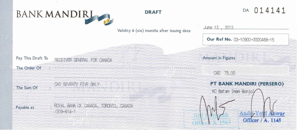 Jasa bank : Bank Draft, Cek Perjalanan dan SDB